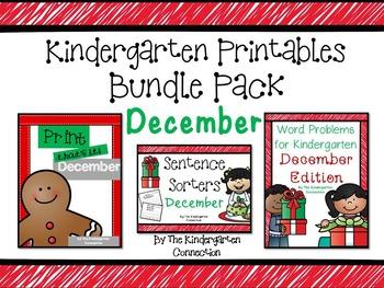 Kindergarten Printables Bundle - December