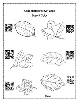 Kindergarten QR Codes - Coloring Fall leaves