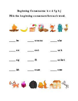 Kindergarten Reading Beginning Consonants Letters B C D F