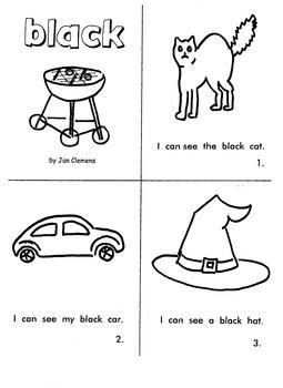 """Kindergarten Reading Book #8  """"Black"""""""