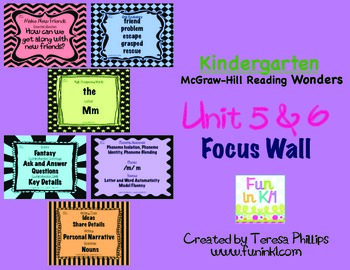 Kindergarten Reading Focus Wall supports Unit 5 and 6 of M