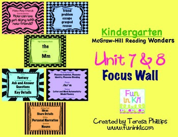 Kindergarten Reading Focus Wall supports Unit 7 and 8 of M