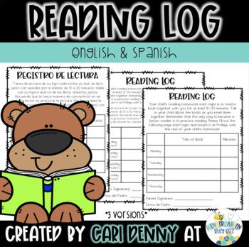Kindergarten Reading Log: English and Spanish
