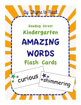 Kindergarten Reading Street AMAZING Words Flash Cards