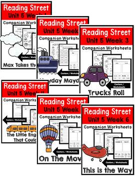 Kindergarten. Reading Street. Unit 5 Bundle Worksheets/Centers
