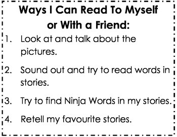 Kindergarten Reading Success Criteria Poster: Ways I Can R