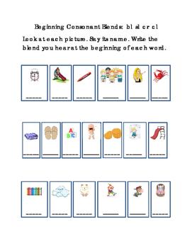 Kindergarten Reading Write Beginning Consonant Blends Lett