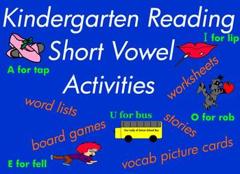 Kindergarten Reading / Writing Short Vowel CVC Word Games