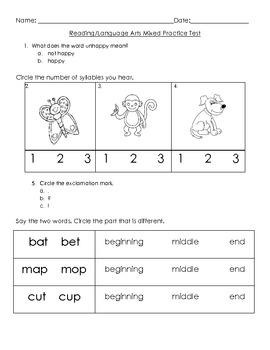 Kindergarten - Reading/Language Arts Common Core Weekly As
