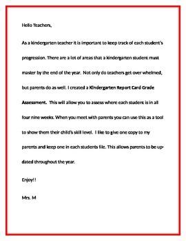 Kindergarten Report Card Grade Assessment.