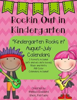 Kindergarten Rocks Calendar Set : 12 monts : Color and B&W