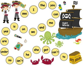 Kindergarten Sight Words Pirates Board Game  - SIPPS High