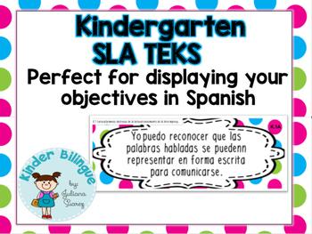 Kindergarten SLA TEKS (English Language Arts) in Polka Dots