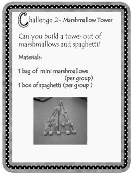 Kindergarten STEM Marshmallow tower challenge