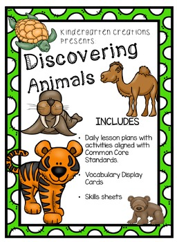 Kindergarten Science Discovering Animals Unit