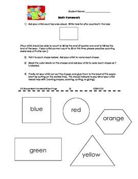 Kindergarten Semester 1 (Quarters 1 and 2) Math Homework 3