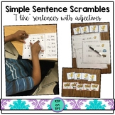 "Simple Sentence Scrambles ""I like..."" (sight words and adj"