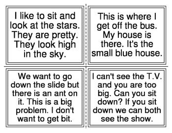 Kindergarten Sentence Task Cards (60 sentences) (20 Cards)