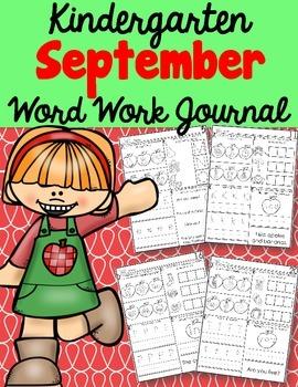 Kindergarten September Word Work Journal