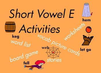 Kindergarten Short Vowel E Word Games, for Building Readin