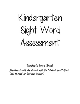 Kindergarten Sight Word Assessment