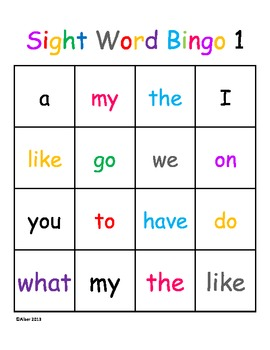 Kindergarten Sight Word Dolch Bingo Beginner Level 1 Harco