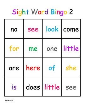 Kindergarten Sight Word Bingo Level 2