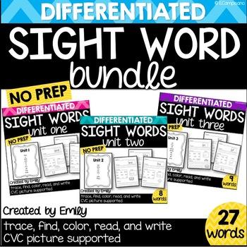 BUNDLE -- Kindergarten Sight Word Practice