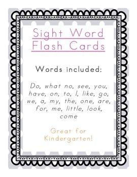 Kindergarten Sight Word Flashcards