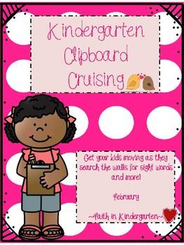 Kindergarten Sight Word & Letter Blends Write the Room ~ February