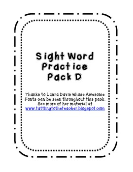 Kindergarten Sight Word Pack D
