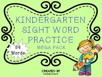 54 Kindergarten Sight Word Practice Mega Pack