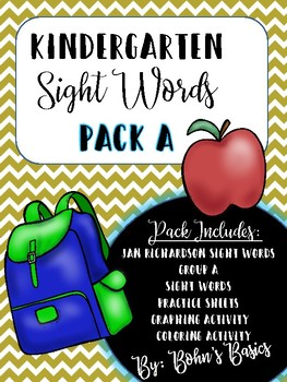 Kindergarten Sight Word Practice: Pack A