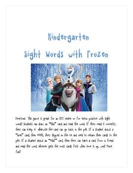 """Kindergarten Sight Word Practice with """"Frozen"""""""