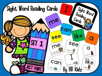 Kindergarten Sight Word Reading Flash Cards on a ring! Lea