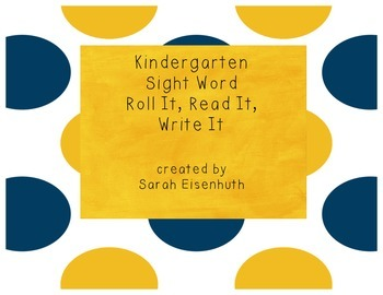 Kindergarten Sight Word Roll It, Read It, Write It