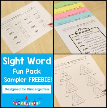 Sight Word Sampler for Kindergarten FREEBIE!