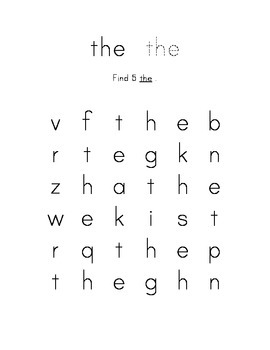 Kindergarten Sight Word Search THE