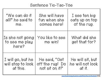 Kindergarten Sight Word Sentence Tic-Tac-Toe