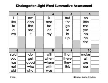 Kindergarten Sight Word Summative Assessment
