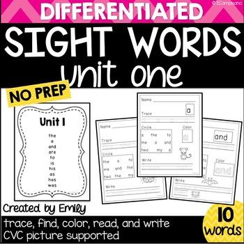Sight Word Practice Unit 1