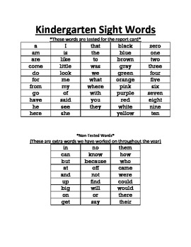 Kindergarten Sight Word list and flashcards