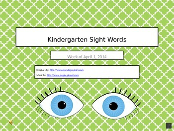 Kindergarten Sight Words 4