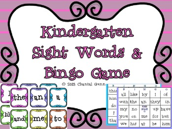 Kindergarten Sight Words & Bingo Game