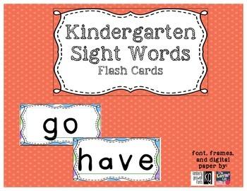 Kindergarten Sight Words Flash Cards (word wall)