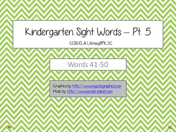 Kindergarten Sight Words - Part 5