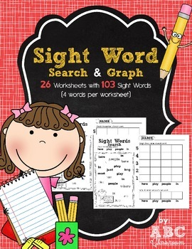 Kindergarten Sight Words Search and Graph Worksheets