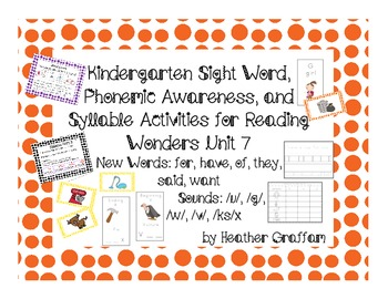 Kindergarten Sight Words, Sounds, Syllable Activities (Uni