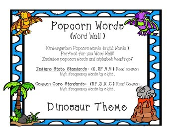 Kindergarten Sight Words - Word Wall Dinosaur Theme