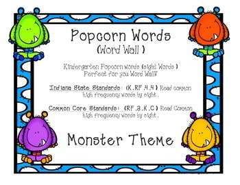 Kindergarten Sight Words - Word Wall Monster Theme